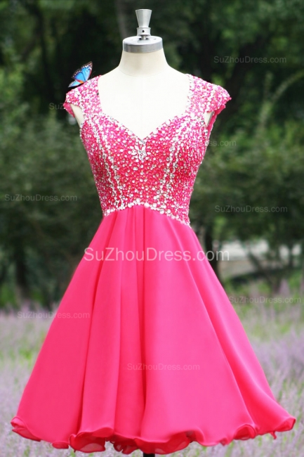Short Beading Prom Gowns  V Neck Sequined Crystal Zipper Peachblow Chiffon Evening Dresses