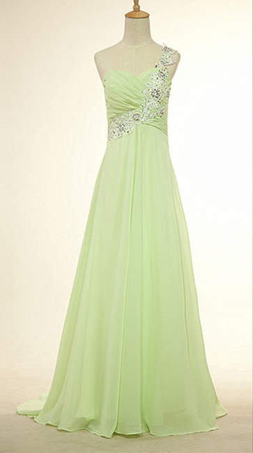 One Shoulder Lace Chiffon Long Prom Dress Popular Sweep Train Plus Size Dresses for Women