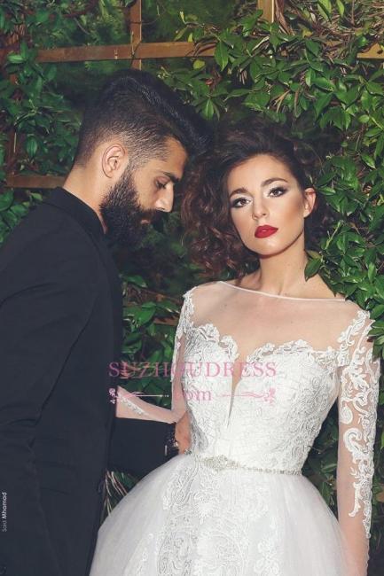 Appliques Long Sleves Bride Dress Elegant Tulle Crystal White Wedding Dress