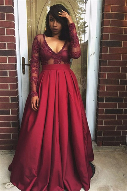 Long Sleeve Deep V-neck Sexy Evening Dresses  Burgundy Prom Gowns  BA4007