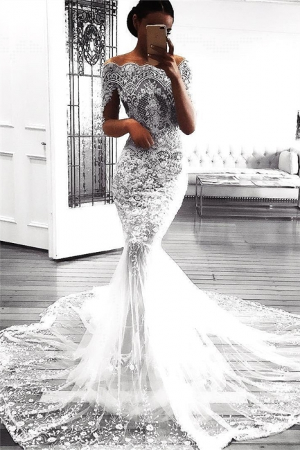 Sexy Mermaid Long Sleeve Lace Wedding Dress Sexy | Flowers See Through Tulle Bride Dress