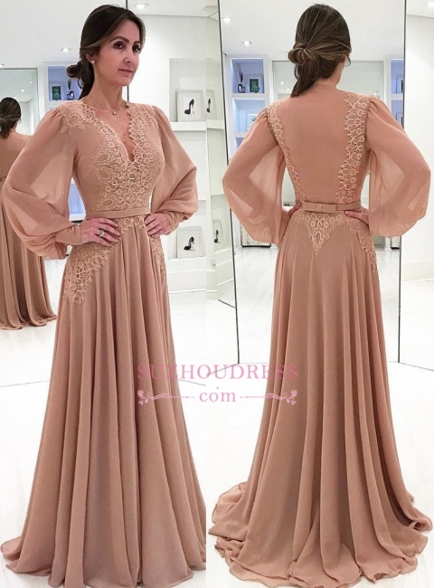 Long-Sleeves V-neck Prom Dresses  | Lace A-Line Evening Dress with Bow BA7906