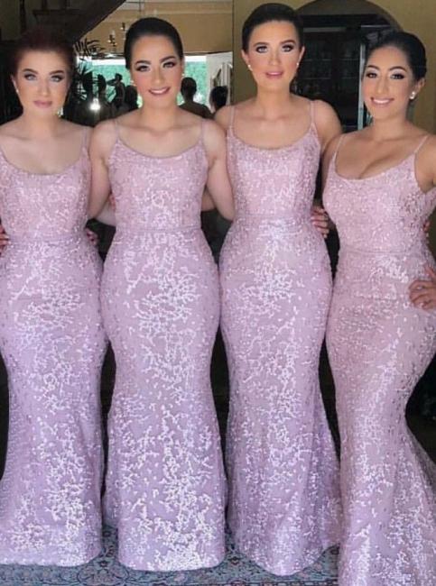 Spaghetti Straps Pink Bridesmaid Dresses  |  Sleeveless Sexy Maid of Honor Dresses Long