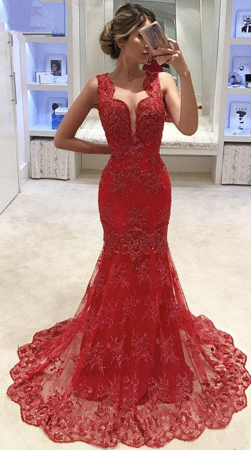 Sleeveless V-neck Mermaid Lace Evening Dress Red  Sexy Prom Dresses  Online
