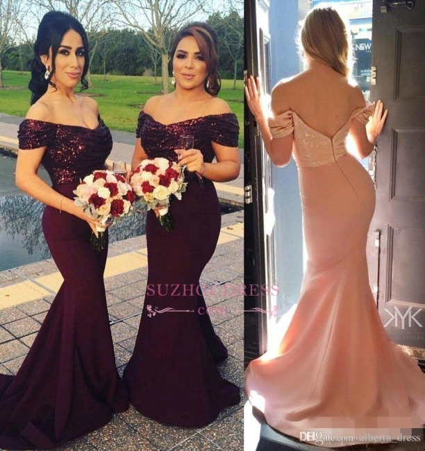 Off-The-Shoulder Short Sleeves Prom Dress Sequins Mermaid Long Evening Dresses