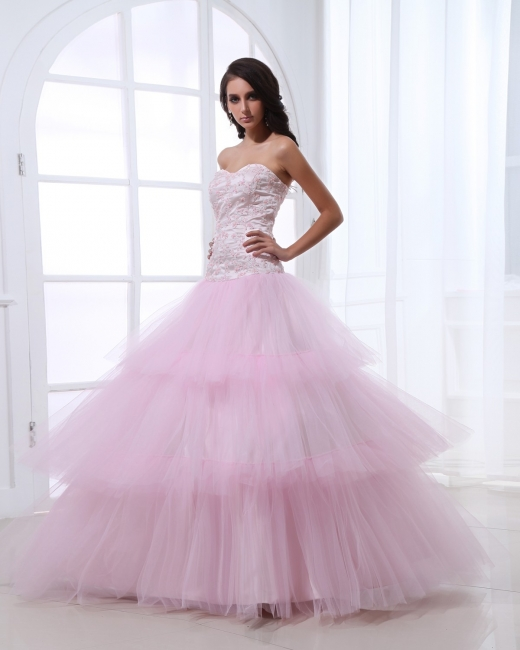 Pink Quinceanera Dresses  Sweetheart Sleeveless Appliques Tiered Ball Gown Floor Length Lace-up Gorgeous Prom Dress