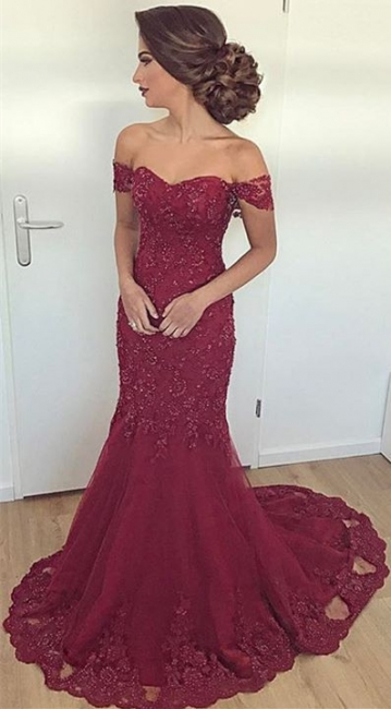 Maroon Off The Shoulder Lace Evening Dress Mermaid Elegant  Formal Dress  BA6436