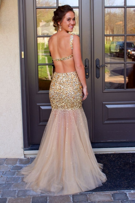 Gold Sequined  Prom Dresses Straps Mermaid Sequins Backless See Through Evening Gowns AB01