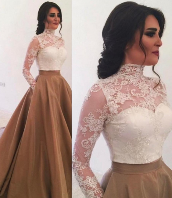 High Neck Long Sleeves Lace Evening Dress  Elegant Formal Dresses with Pockets