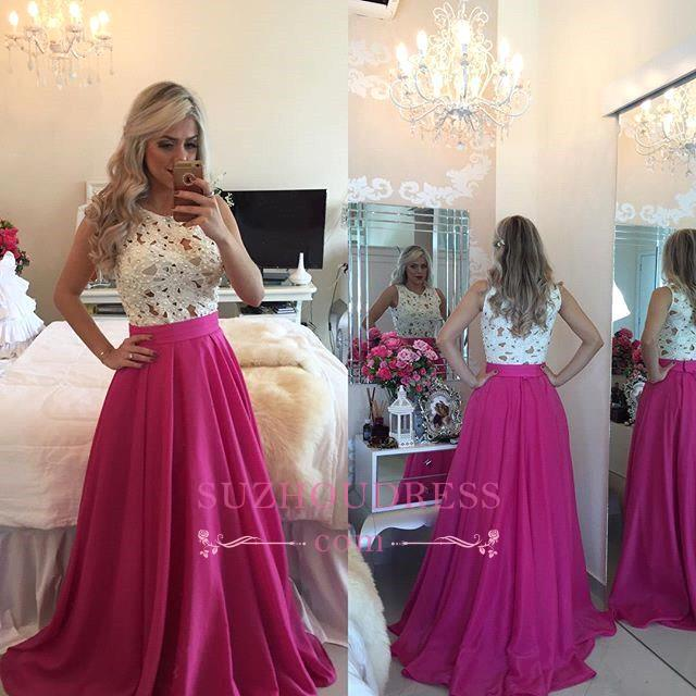 Charming Fuchsia Prom Dress Pearls Sleeveless A-line Lace Evening Gowns BMT205