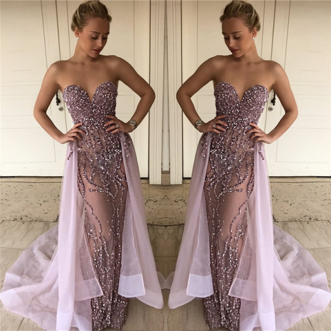 Lalic Sweetheart Beads Sequins Evening Dresses Overskirt Crystals Sexy Prom Dress FB0114