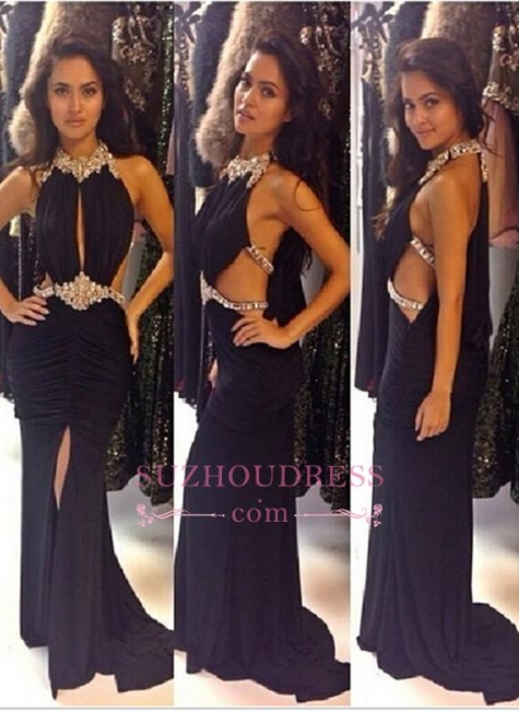 Sexy Split Black Evening Gowns  Sleeveless Halter Crystal Prom Dress BA3854
