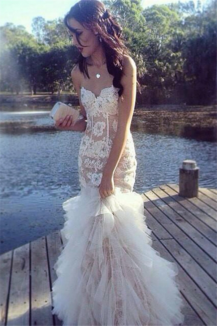 Ruffles Tulle Lace Prom Dresses Sweetheart Sheath Evening Dress