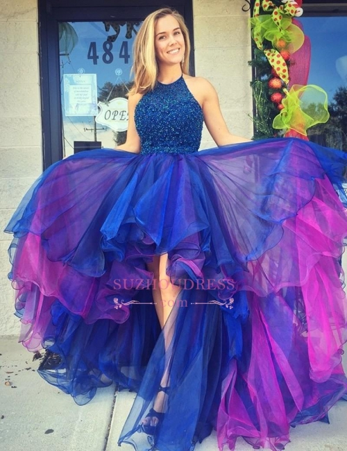 Sleeveless Organza Hi-Lo Evening Dresses  Beadings Gorgeous Prom Dress PT0312