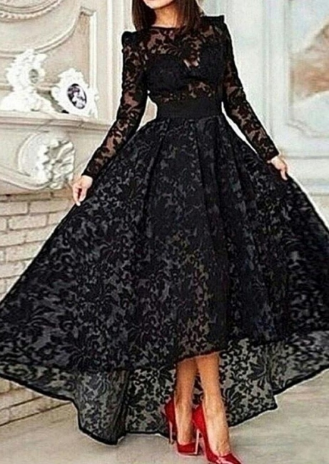 Black Hi-Lo Long Sleeve Lace Prom Dress Unique Custom Made Evening Dresses for Women