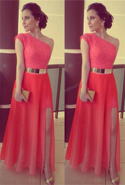 One Shoulder  Prom Dress Cap Sleeve Chiffon and Lace Special Occasion Dress