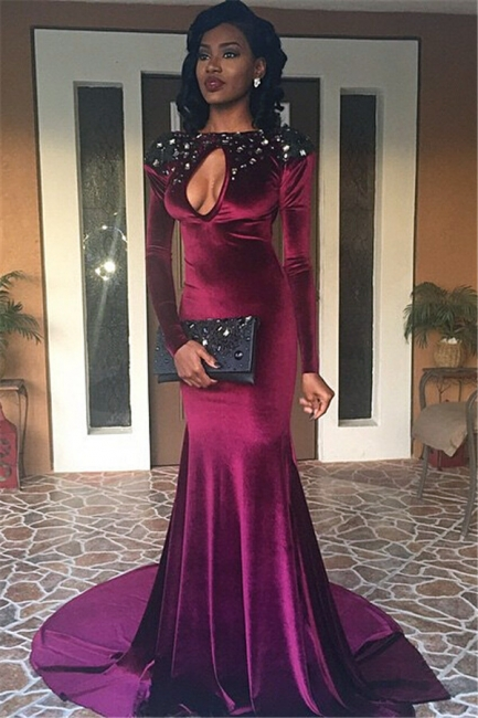 Sexy Long Sleeve Backless Mermaid Prom Party Dress  Velvet Keyhole Neckline Evening Gowns BA1329