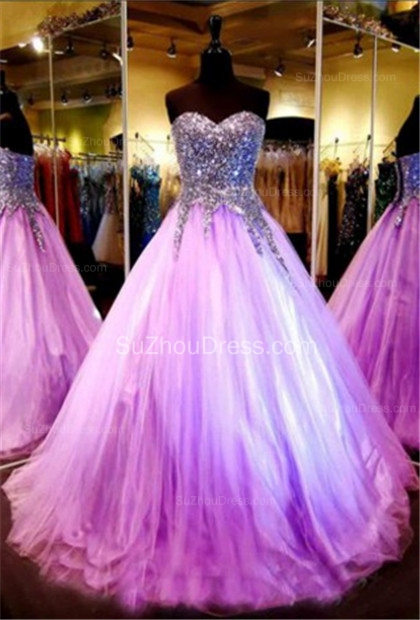 Tulle Sequined Shiny Prom Dresses Sweetheart Sleeveless Floor Length  Popular Quinceanera Dress