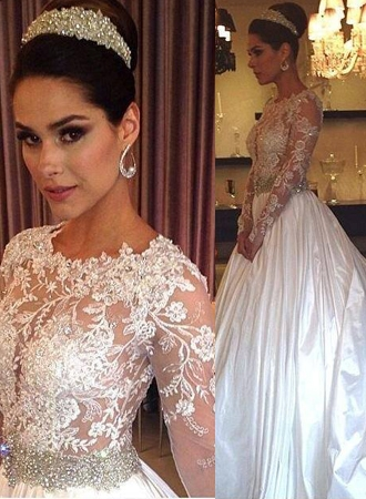 Crystal Long Sleeve Satin Wedding Dress with Beadings New Arrival Lace Applique Bridal Gowns