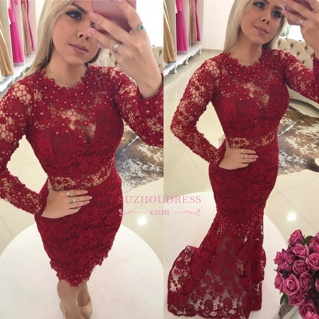 Luxury Jewel Mermaid Evening Dresses  | Lace Long Sleeves Formal Dresses with Beadings