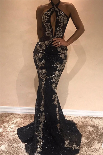 Halter Sleeveless Sexy Evening Dresses  | Black Shiny Keyhole Prom Dress with Lace Appliques