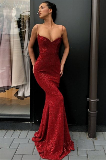 Stunning Spaghetti Straps V-Neck Mermaid Prom Dress Sparkly Sequins Burgundy Evening Dresses On Sale