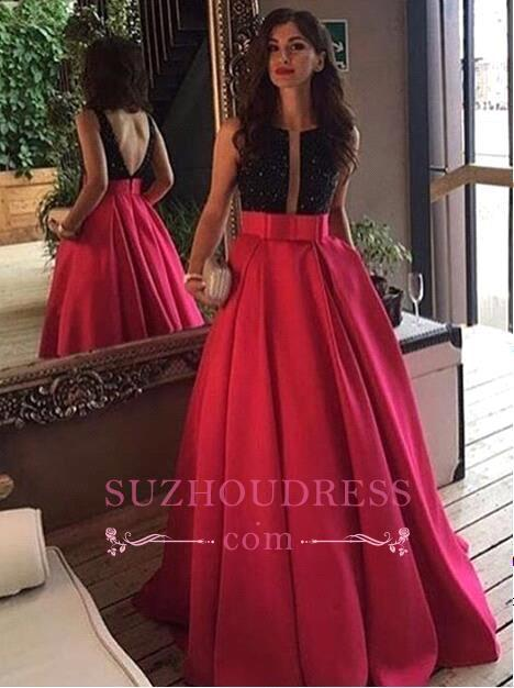 Elegant Scoop Neckline Sleeveless Black-red Prom Dress Evening Party Gowns