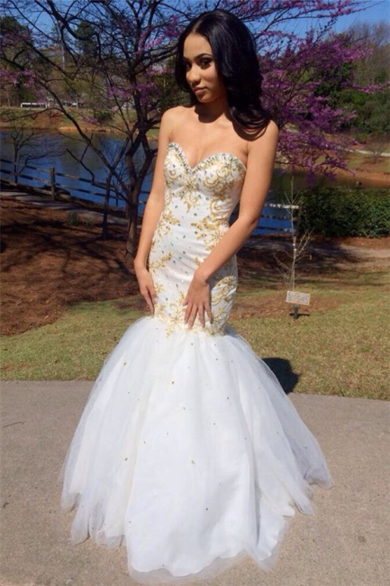 Gold Beading  Mermaid Evening Dresses Sweetheart Sexy Prom Gowns CE099