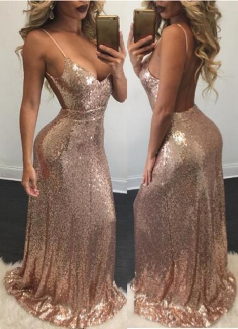 Champagne Sequins Backless Evening Gowns Sexy  Straps Shiny Formal Dresses BA6742