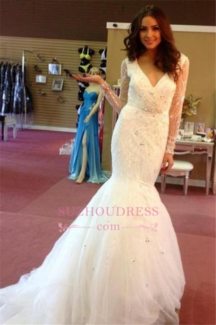 Puffy Beaded V-neck Mermaid Sequins Gorgeous Tulle Wedding Dresses