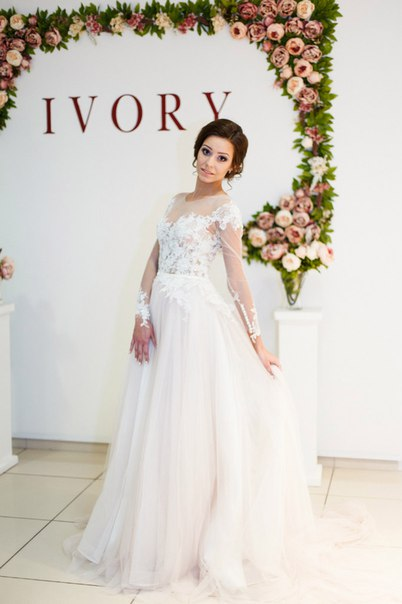 A-Line Long Sleeve Lace Applique Bridal Gowns Elegant Tulle Long Wedding Dresses BA5209