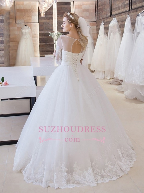 Princess Lace-Up  Bride Dress  Stunning Floor-Length Lace Half-Sleeve Wedding Dress