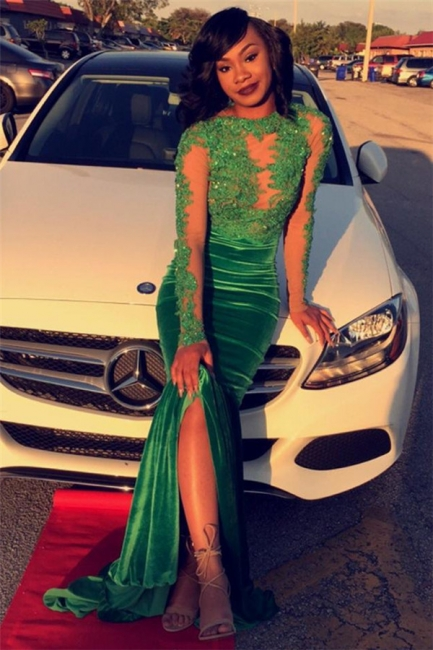 Long Sleeve Velvet Green Evening Gown Sexy Court Train Prom Party Dress DN011