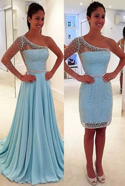 One Sleeve Beads Sequins Short Evening Dress with Detachable Skirt Sexy Prom Dresses