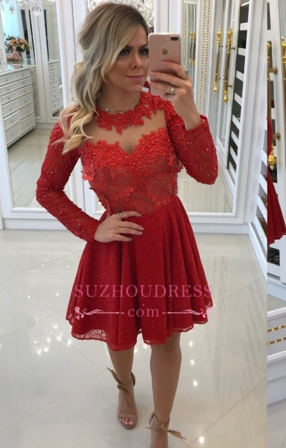 Short Long-Sleeve Homecoming Dresses | Red Lace Party Dresses WW0010