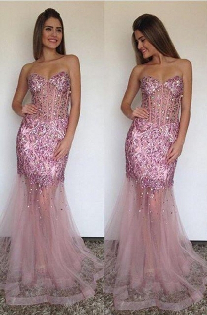 Sexy Mermaid Tulle Sweetheart Prom Dress Sparkly Beading Long  Evening Gown