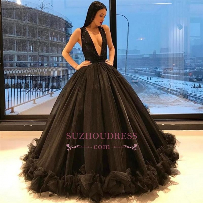 Sexy Tulle Puffy Prom Dress  Deep V-Neck Sequins Sparkling Ruffles Black Sleeveless Evening Gown