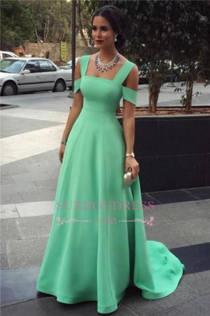 Green Empire  Long Prom Dress Elegant A-line Court Train Straps  Evening Dresses Long