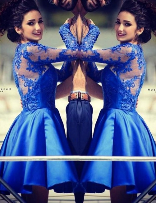 Cute Royal Blue Long Sleeve Homecoming Dress A-Line Lace Short Cocktail Dresses