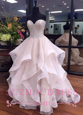 Beadings Sweetheart Sexy Prom Dresses Elegant Ruffles Floor Length Tulle  Evening Dresses BA5406
