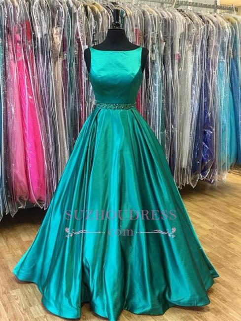 A-Line Beadings Green Sleeveless  Stunning Prom Dress
