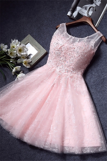 Pink Lace Appliques Sleeveless Homecoming Dresses  Short A-line Party Dresses with Beadings