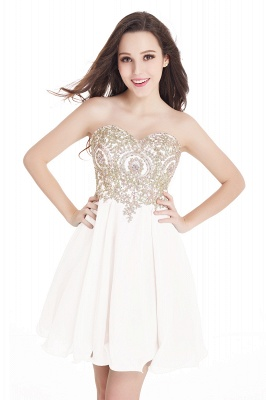 Sweetheart Cheap Mini Short Appliques Homecoming Dresses_1