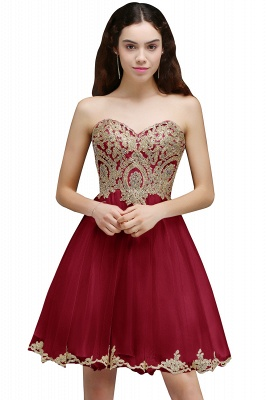 Appliques Lace-Up Short Sweetheart Lovely Homecoming Dress_1