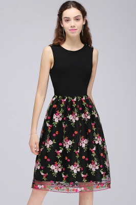 Sleeveless A-Line Tulle Flowers Short Black Homecoming Dresses_1