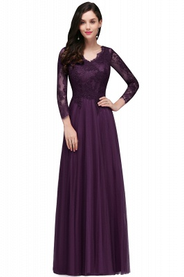 A-line Burgundy Floor-Length V-Neck Long-Sleeves Prom Dresses_2