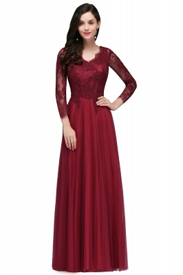 A-line Burgundy Floor-Length V-Neck Long-Sleeves Prom Dresses_1