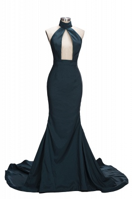 Dark Green Halter Key Hole Evening Dresses Backless  Mermaid Prom Gowns CE0028_1