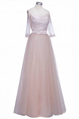 A-line Lace Glamorous Half Sleeves Evening Gown   Off The Shoulder Tulle Prom Dresses_1