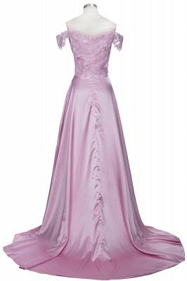 Off-the-Shoulder  Formal Dress Long Lace Split Floor Length Elegant Evening Dress_3